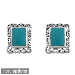 Fremada Sterling Silver Turquoise or Black Onyx Rectangle Filigree Earrings