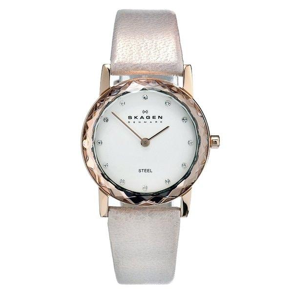 Skagen Women's Rose Gold Leather Quartz Watch