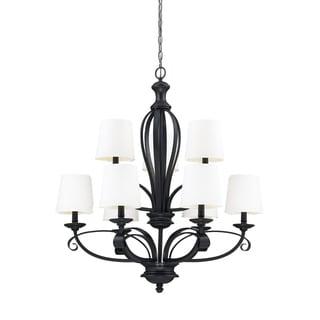 Charleston Matte Black and White Linen 9-light Chandelier