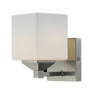 Quube 1 Light Brushed Nickel Wall Sconce