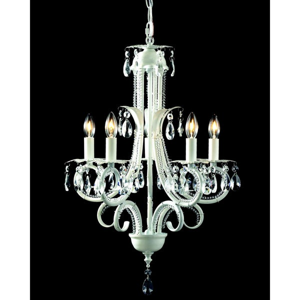 Parisian White 5-light Crystal Chandelier