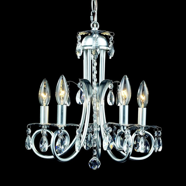 Pearl Silver 5-light Crystal Chandelier