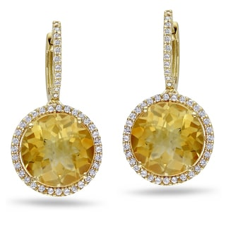 Miadora Signature Collection 14k Gold Citrine and 1/2ct TDW Diamond Earrings (G-H, I1-I2)