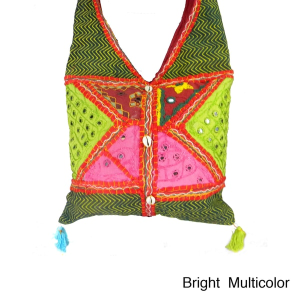 Handcrafted Multi Patchwork With Sea Shells Cross Body Bag (India)