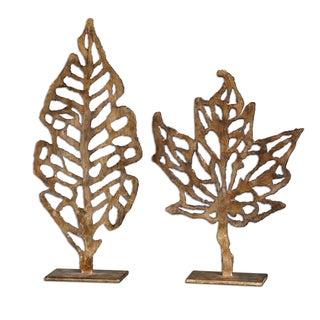 Uttermost 'Hazuki' Decorative Metal Leaf Sculptures (Set of Two)