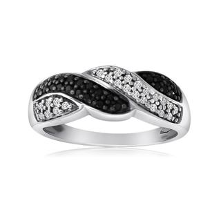 New! 10k White Gold 1/4ct TDW Black and White Diamond Braided Ring (H-I, I1-I2)