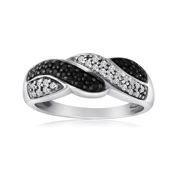 New! 10k White Gold 1/4ct TDW Black and White Diamond Braided Ring (H-I, I1-I2)