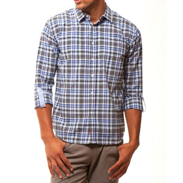 191 Unlimited Men's Slim Fit Blue Plaid Shirt