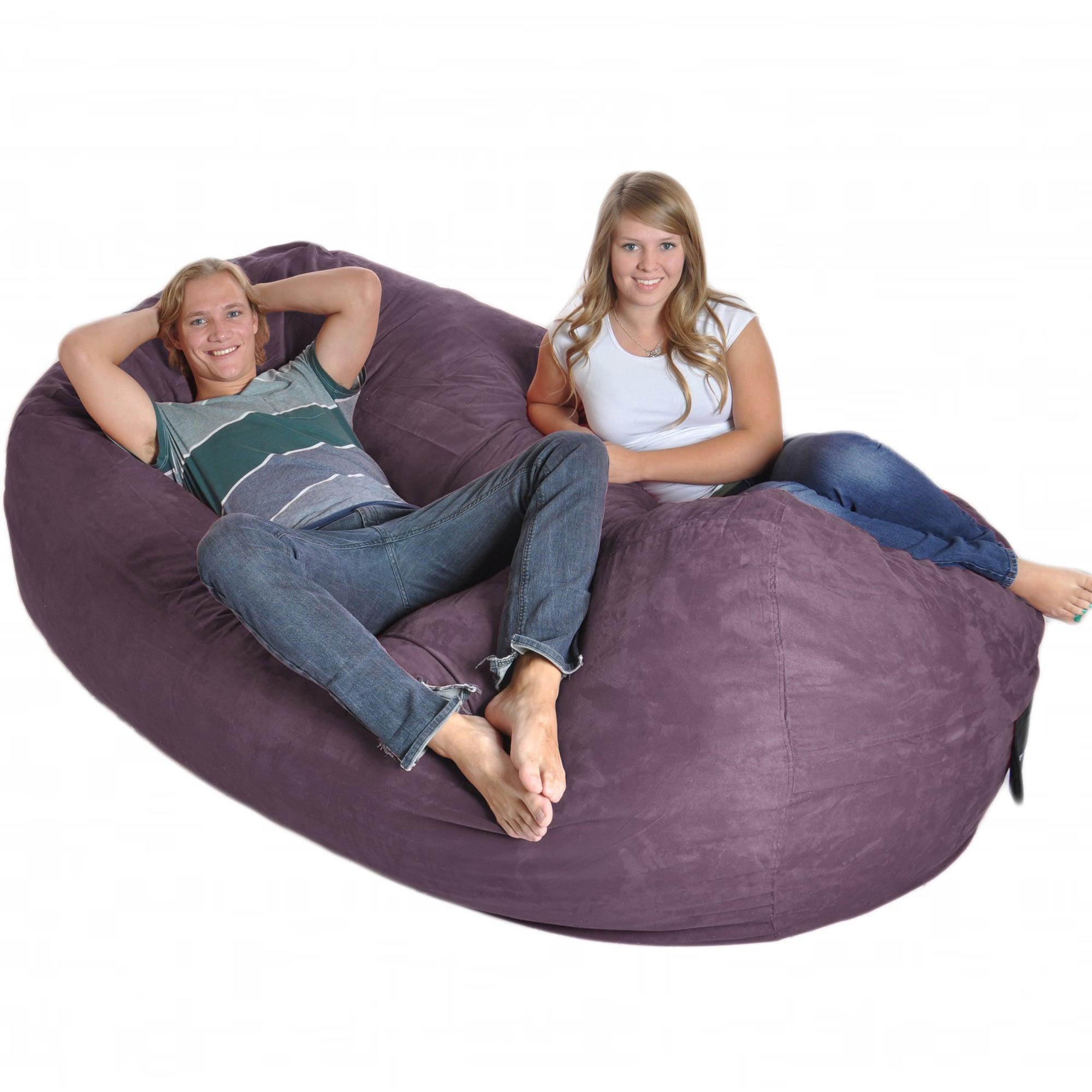 Sensational Purple 8 Foot Oval Microfiber Memory Foam Bean Bag Squirreltailoven Fun Painted Chair Ideas Images Squirreltailovenorg