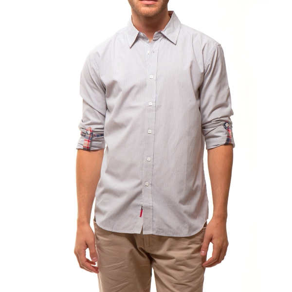 191 Unlimited Men's Light Grey Micro Stripe Shirt