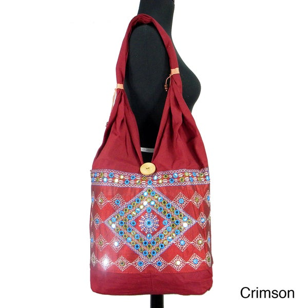 Handmade Bucket Style Shoulder Bag with Bead Accent (India)