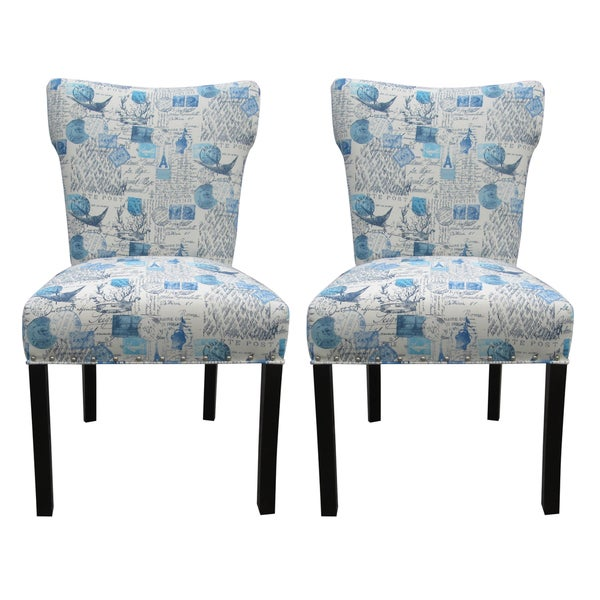 Bella Primary Blue Upholstered Dining Chairs (Set of 2)