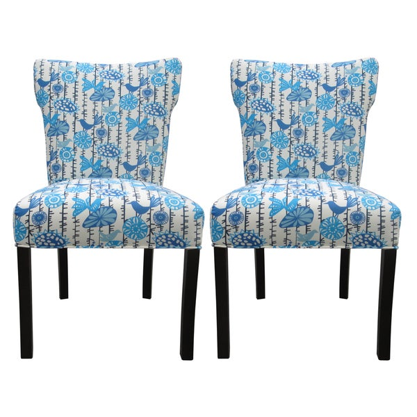 Bella Menagerie Blue Bird Upholstered Dining Chairs (Set of 2)