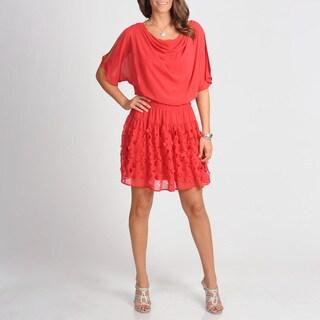 S.L. Fashions Women's Laser Cut Blouson Dress
