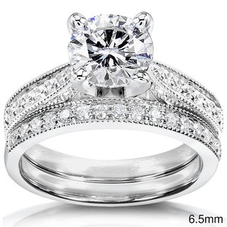 Annello by Kobelli 14k White Gold Moissanite and 1/3ct TDW Round-cut Diamond Bridal Ring Set