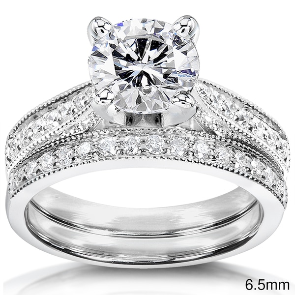 Annello by Kobelli 14k White Gold Moissanite and 1/3ct TDW Round-cut Diamond Bridal Ring Set