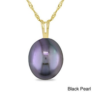 Miadora 14k Yellow Gold White or Black Pearl Necklace (8-9 mm)