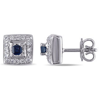 Miadora Signature Collection 18k Gold Sapphire and 3/4ct TDW Diamond Earrings (G-H, SI1-SI2)