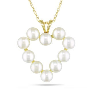 Miadora 10k Yellow Gold White Cultured Freshwater Pearl Heart Necklace (3.5-4 mm)