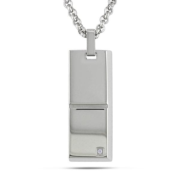 Miadora Stainless Steel Men's Cubic Zirconia Necklace