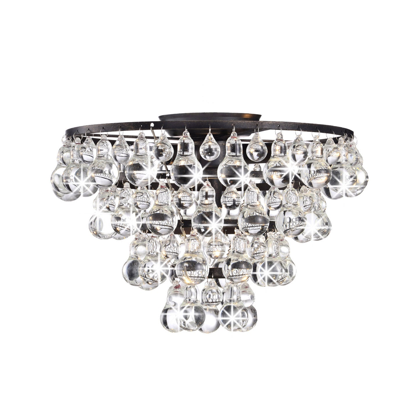 Tranquil Crystal and Bubble Flush-mount Chandelier (Black...