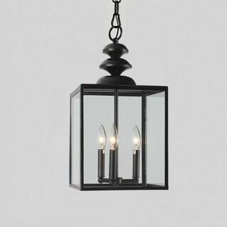 Antique Black 3-light Glass Caged Foyer Chandelier