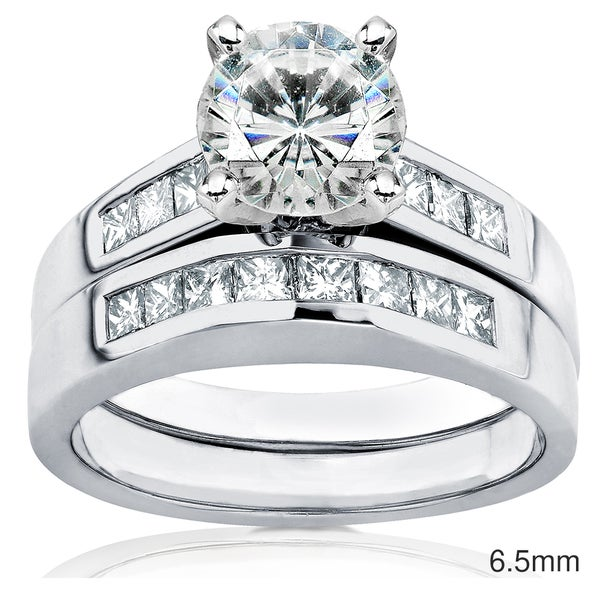 Annello by Kobelli 14k Gold 1 or 1 1/2ct Moissanite and 3/5ct TDW Princess Channel Diamond Bridal Rings Set