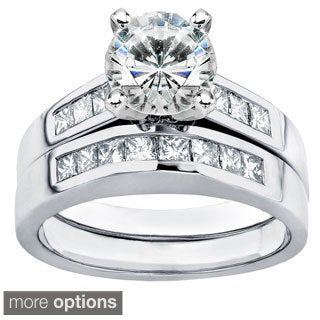 Annello by Kobelli 14k Gold Moissanite and 3/5ct TDW Diamond Bridal Ring Set (H-I, I1-I2)
