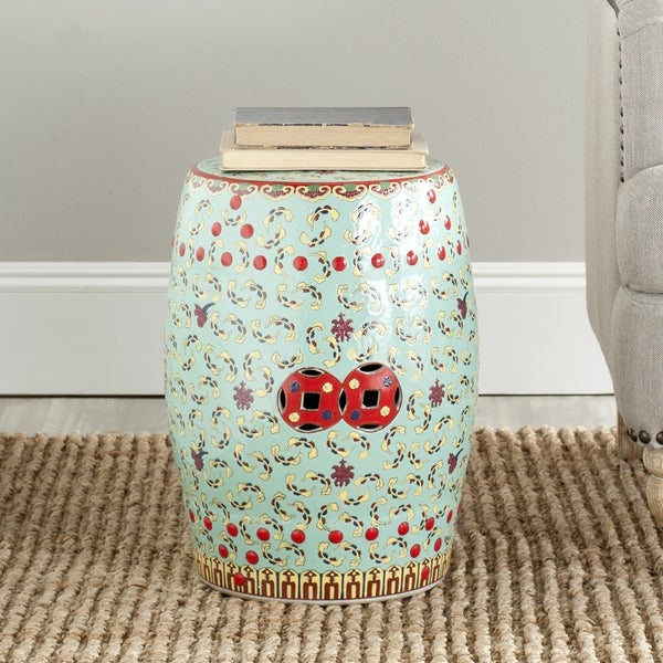 Safavieh Paradise Chinese Floral Light Blue Ceramic Garden Stool