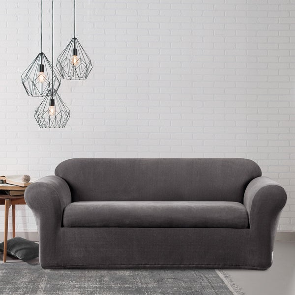 Sure Fit Stretch Metro Two Piece Grey Sofa Slipcover