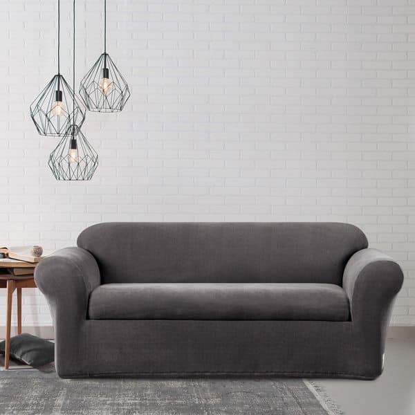 Shop Sure Fit Stretch Metro Two Piece Grey Sofa Slipcover ...