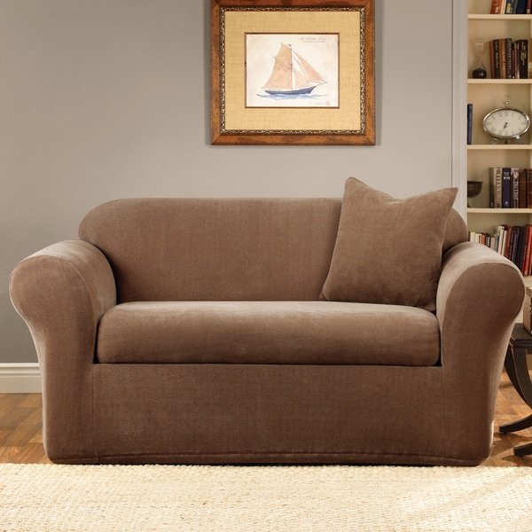 Sure Fit Stretch Metro Two-piece Brown Loveseat Slipcover