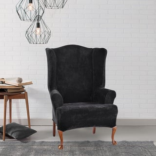 sure fit stretch plush black wing chair slipcover