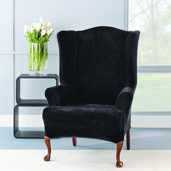 Sure Fit Stretch Plush Black Wing Chair Slipcover Free