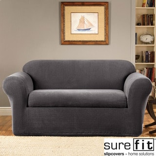Sure Fit Stretch Metro Two-piece Grey Loveseat Slipcover