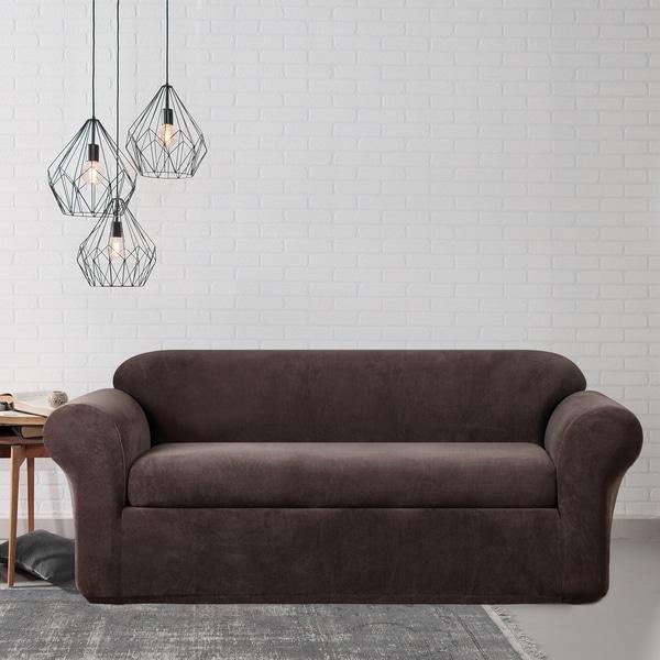 High Quality Stretch Metro Two Piece Espresso Sofa Slipcover