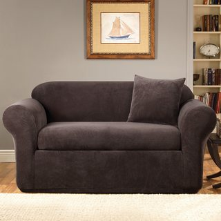 Stretch Metro Two-piece Espresso Loveseat Slipcover