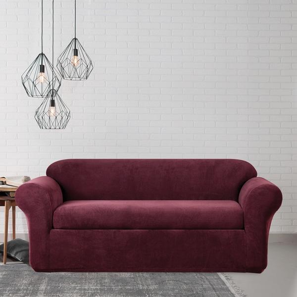 Elegant Sure Fit Stretch Metro Two Piece Burgundy Sofa Slipcover