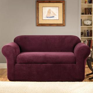 Sure Fit Stretch Metro Two-piece Burgundy Loveseat Slipcover