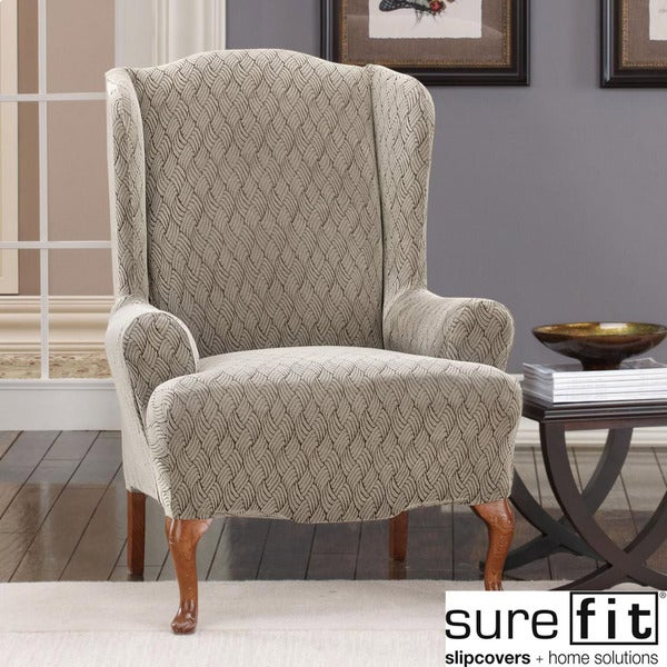 Sure Fit Stretch Braid Pebble Wing Chair Slipcover