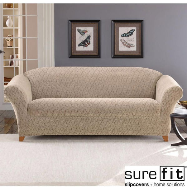 Stretch Braid Camel Sofa Slipcover Free Shipping Today