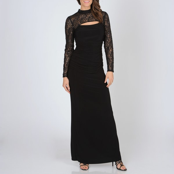 Women's Black Lace Mock Shrug Shirred Gown