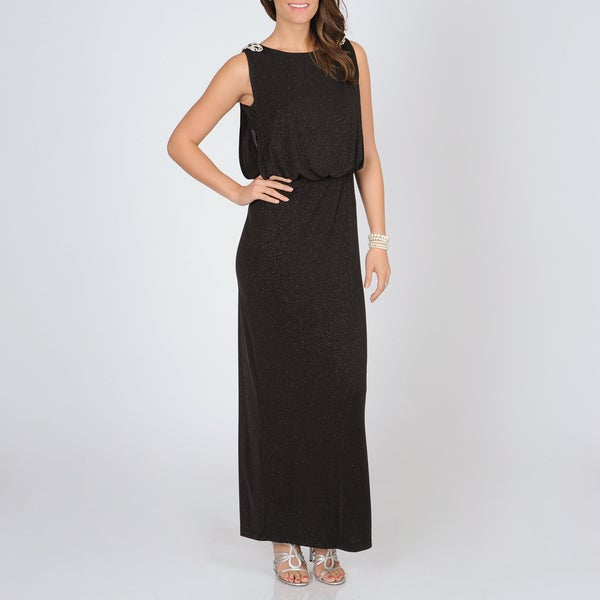 Women's Black Glitter Knit Blouson Gown