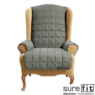Sure Fit Soft Suede Waterproof Loden Wing Chair Cover