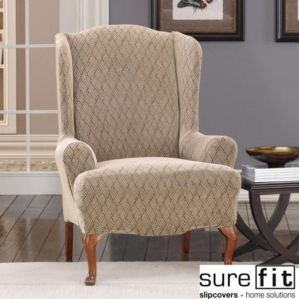Sure Fit Stretch Braid Camel Wing Chair Slipcover