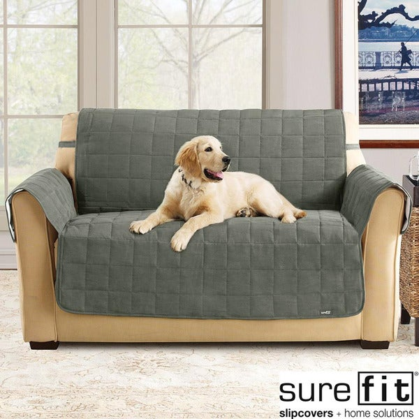 Sure Fit Soft Suede Loden Waterproof Loveseat Protector