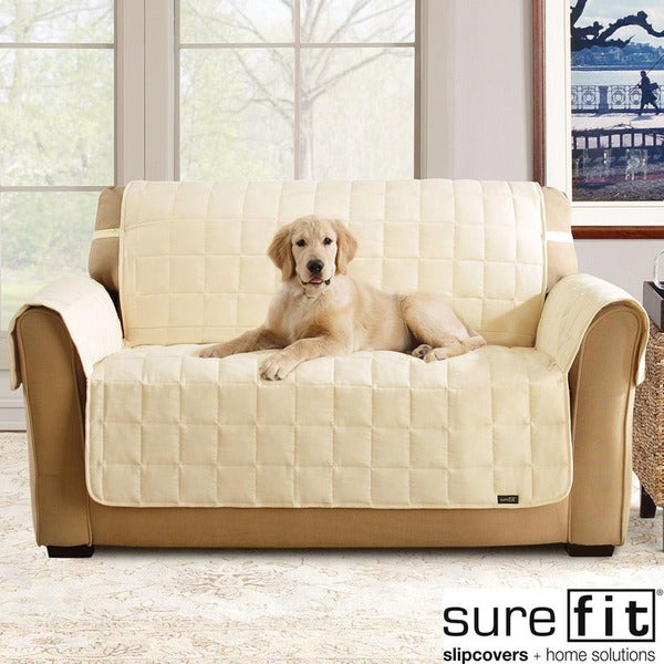 Sure Fit Soft Suede Cream Waterproof Sofa Protector