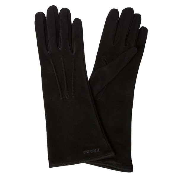 Prada Black Suede Pin-tucked Long Gloves