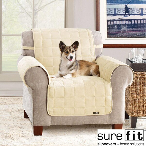 Sure Fit Soft Suede Cream Waterproof Chair Protector