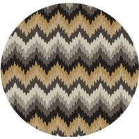 Hand-hooked Charlotte Grey/ Multi Rug (3' x 3')